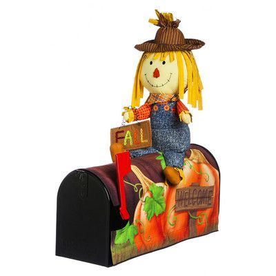 "Evergreen Enterprises, Inc 18"" Pumpkin and Scarecrow Magnetic Mailbox Cover"