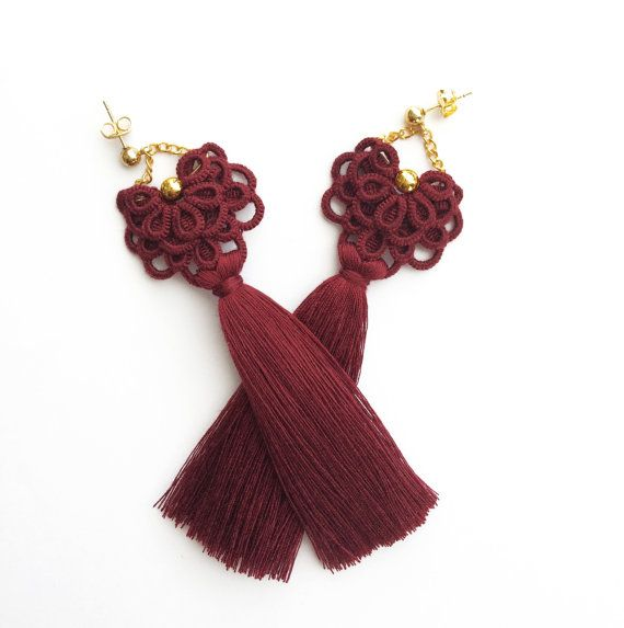 Long burgundy Tassel Earrings, Tassel Jewelry, Stud Earrings, Earrings with tassel, Tatted earrings, Long lightweight earrings, Lace jewelry