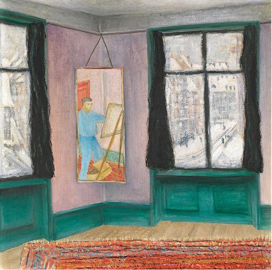 Paul Camenisch (1893–1970), Selbstbildnis im Spiegel / Self-portrait in the mirror, 1932. oil on canvas, 80 x 80,5 cm