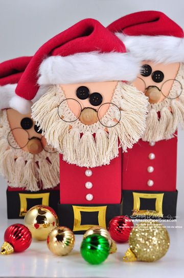 The amazing Becca Feeken has created these wonderful Santa boxes complete with a tutorial on her blog Amazing Paper Grace.