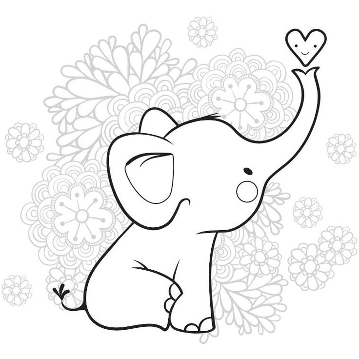 картинка слон шаблон