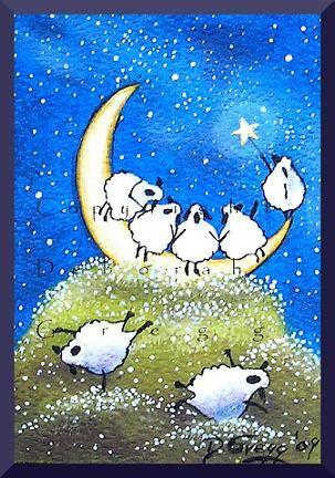 Heavy Load A tiny Sheep Moon Hill top PRINT aceo by ChicorySkies, $8.00