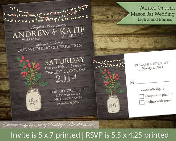 Rustic winter wedding invitations. http://www.etsy.com/listing/165016035/rustic-winter-wedding-invitations-suite