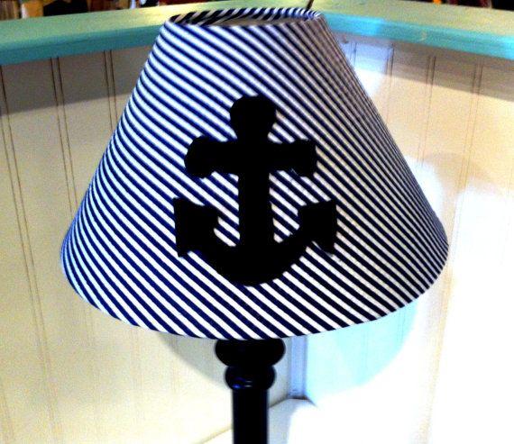 Anchor lamp shade/nautical decor /coottage decor by polkadotpillow, $24.99