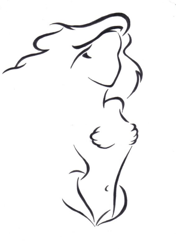 Little Mermaid Silhouette Tattoo Outline Sketch Coloring Page