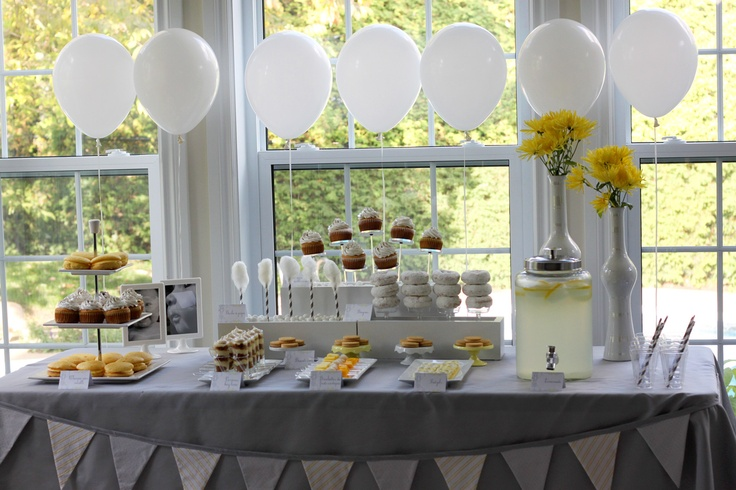 Grey yellow white Christening dessert table: Baptisms Idea, Baptisms Party, Baptisms Desserts Tables, White Desserts Tables, Christening Desserts Tables, Beauty Baptisms, Yellow Desserts, Baptisms Communion, Draping Pendants