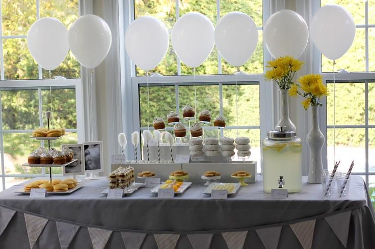 Grey yellow white Christening dessert table