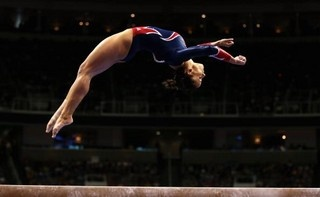 Photo - Wearing the 2008 Olympic team leotard four years later -- and this time, nailing her beam routine in it. - National Gymnastics   Examiner.com