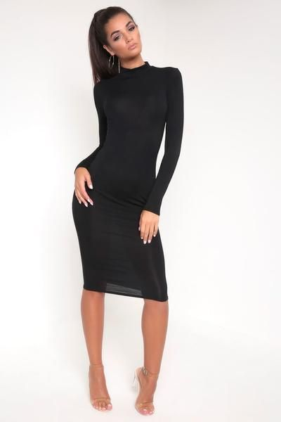 7b33c519249f Black Basic Longsleeve Turtleneck Midi Dress – I SAW IT FIRST