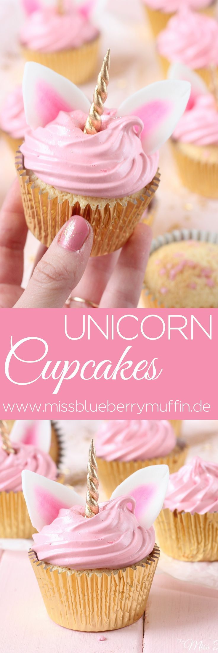 Zauberhafte Einhorn Cupcakes mit Marshmallow-Creme // Cute Unicorn Cupcakes with Seven Minute Frosting ♥️