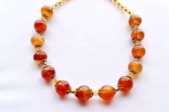 Orange Agate Necklace Agate with Carnelian by VikaRepkaHandMade
