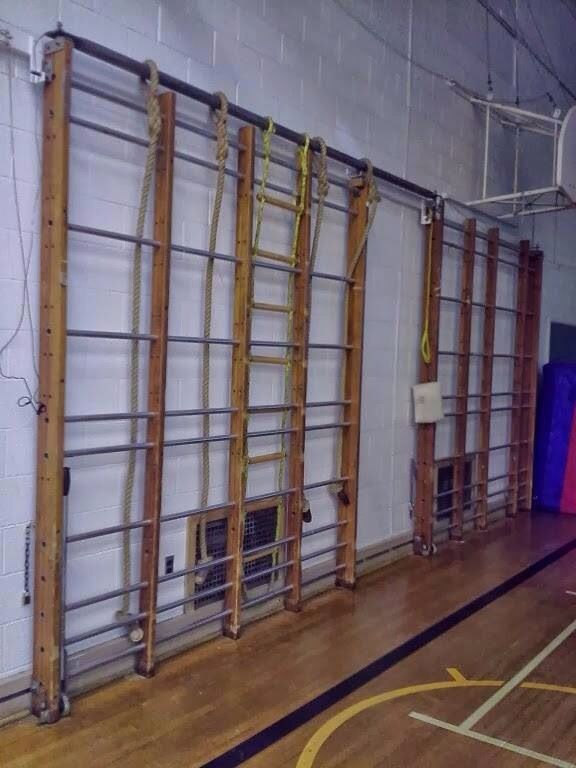 P.E climbing bars would love entering the hall and seeing these set up, or even better when asked to set them up