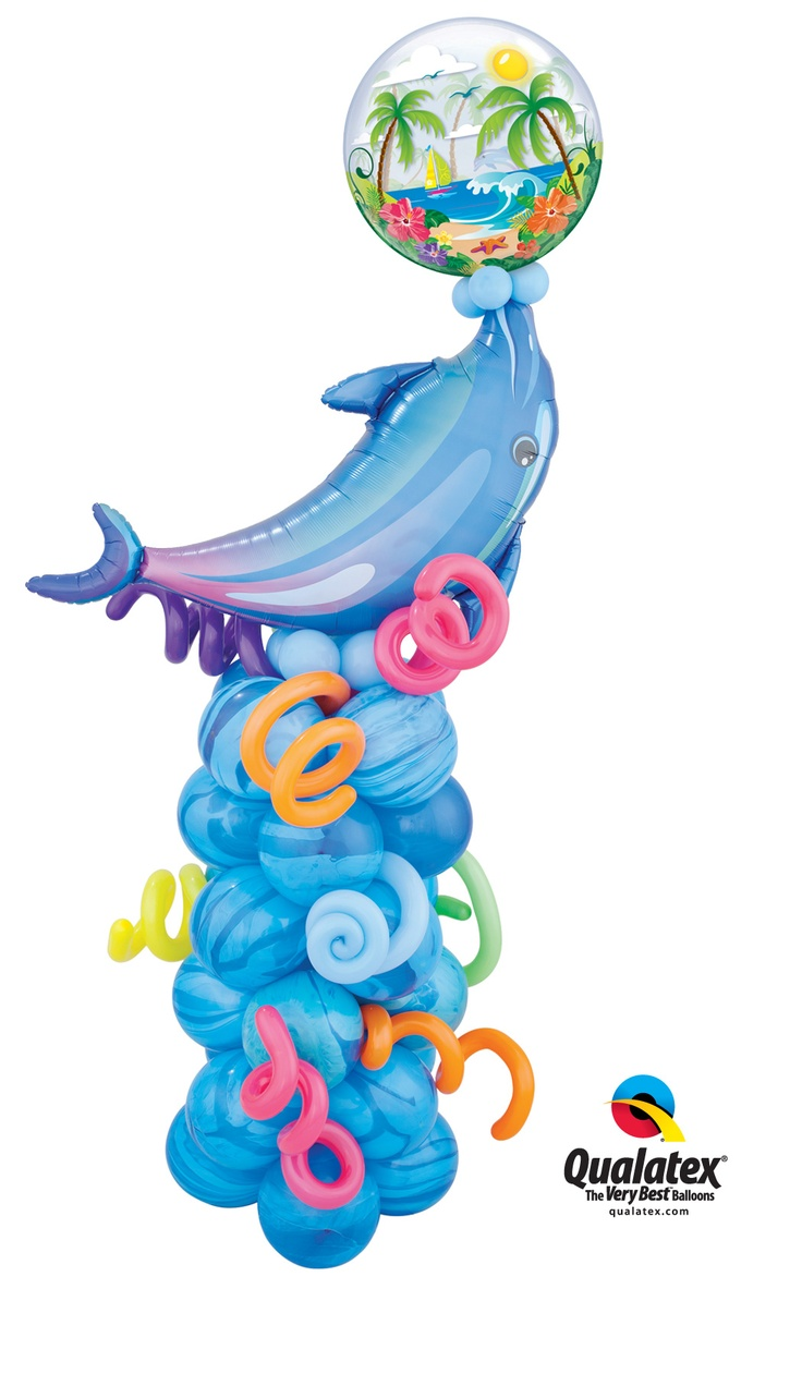 Decorate a pool party or #luau with this fun balloon Column featuring a dolphin balancing a #tropical themed Bubble Balloon on its nose! Click through to search for a balloon professional near you.