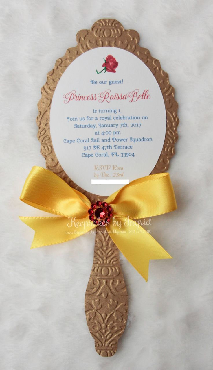 Set of 15 mirror invitations in embossed gold cardstock with yellow satin ribbon and sparkle detail on top. Perfect for a beauty princess party. Text is printed on white cardstock. Measures approximately 9 x 4. White envelopes included. Handmade colored envelopes available, if