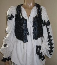 Antique hand embroidered Romanian sheepskin vest from Apuseni Mountains S/M size .  Available at www.greatblouses.com