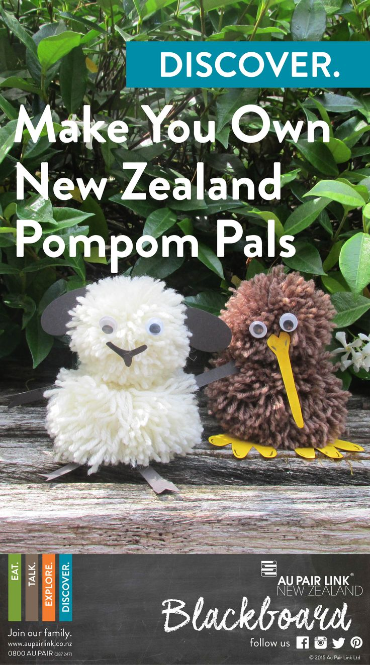 DISCOVER. Makes don't get any cuter than our fluffy Pompom Pals...and what better way to celebrate our beautiful Aotearoa (New Zealand) than with the native little kiwi bird or a super woolly sheep. Create your very own Kiwi Pompom Pal, and learn all about the endangered kiwi bird, which can only be found in New Zealand.