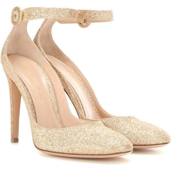 Gianvito Rossi Virna Glitter Pumps ($805) ❤ liked on Polyvore featuring shoes, pumps, heels, gianvito rossi, gold, glitter heel shoes, gold pumps, heel pump, gold shoes and glitter shoes