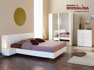 Mobila Dormitor Lux Wesley Alb Lucios   Dormitoare albe lucioase