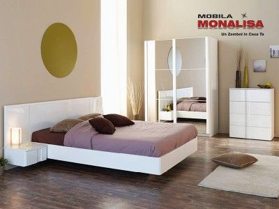 Mobila Dormitor Lux Wesley Alb Lucios | Dormitoare albe lucioase