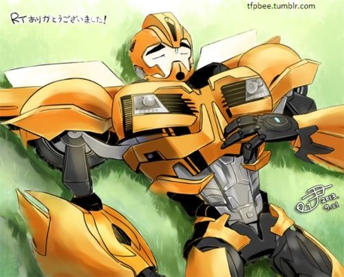 Sleeping Scout - awe transformers prime bumblebee snoozing away under the sun, so precious.