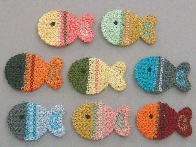 8 Crochet Fish Appliques 8 Colors EA126 by twpmango on Etsy