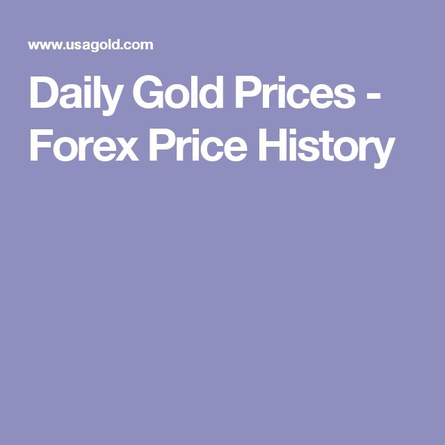 Daily Gold Prices - Forex Price History