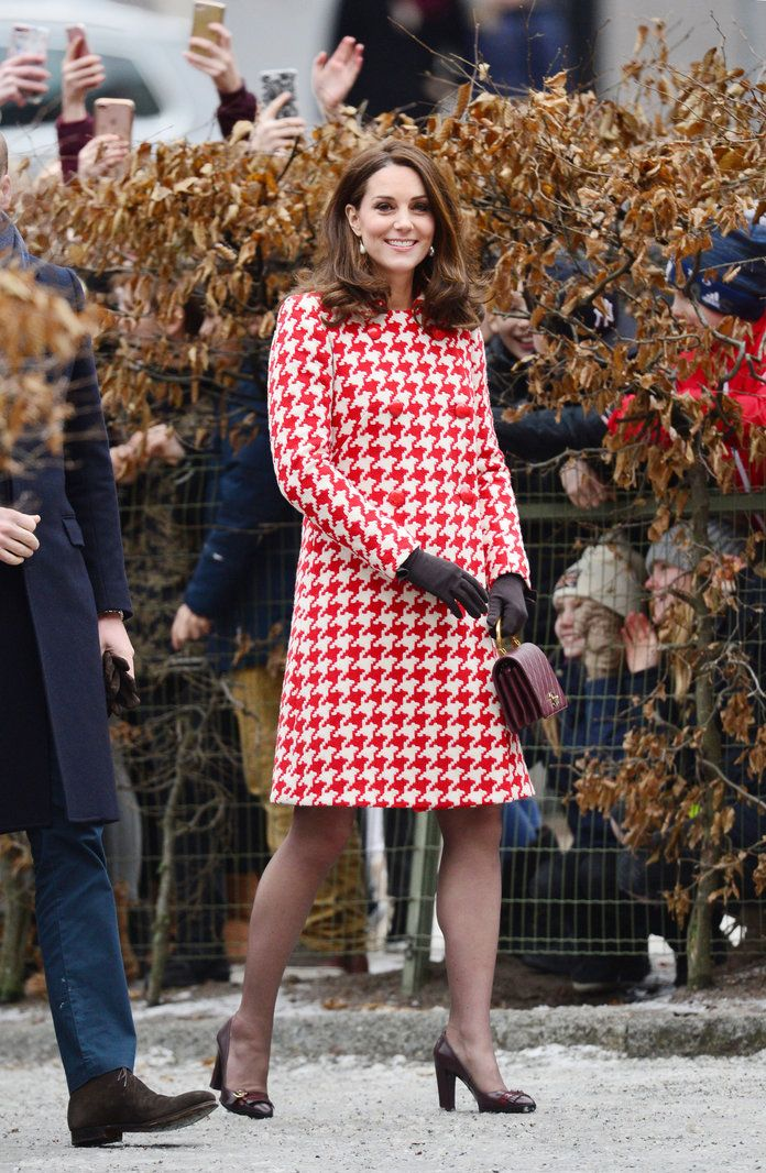 Pregnant Kate Middleton Radiates in a Red Houndstooth Coat During Swedish Tour | Kate Middleton slipped into a cheery red-and-white houndstooth coat during her second day of engagements in Sweden.