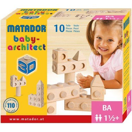 Matador Babyarchitect 10 - drewniane klocki konstrukcyjne Zestaw drewnianych klocków w różnych kształtach które idealnie pasują do dziecięcych rączek. Funkcyjne kształty zachęcają dzieci do zaangażowania się w zabawę. Ta edukacyjna zabawka dla najmłodszych pomaga rozwijać zdolności motoryczne jak i zachęca do tworzenia kreatywnych konstrukcji. Wiek: 18 miesięcy + Wyprodukowano wAustrii