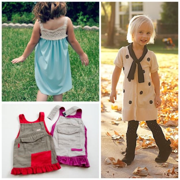 Kid's clothes refashion: links to projects pictured #sew #girls #remake