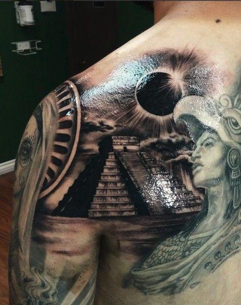 Aztec Pyramids Tattoo : aztec, pyramids, tattoo, Chichen, Pyramid, Eclipse, Tattoo, Aztec, Designs,, Tattoos, Sleeve,, Mayan
