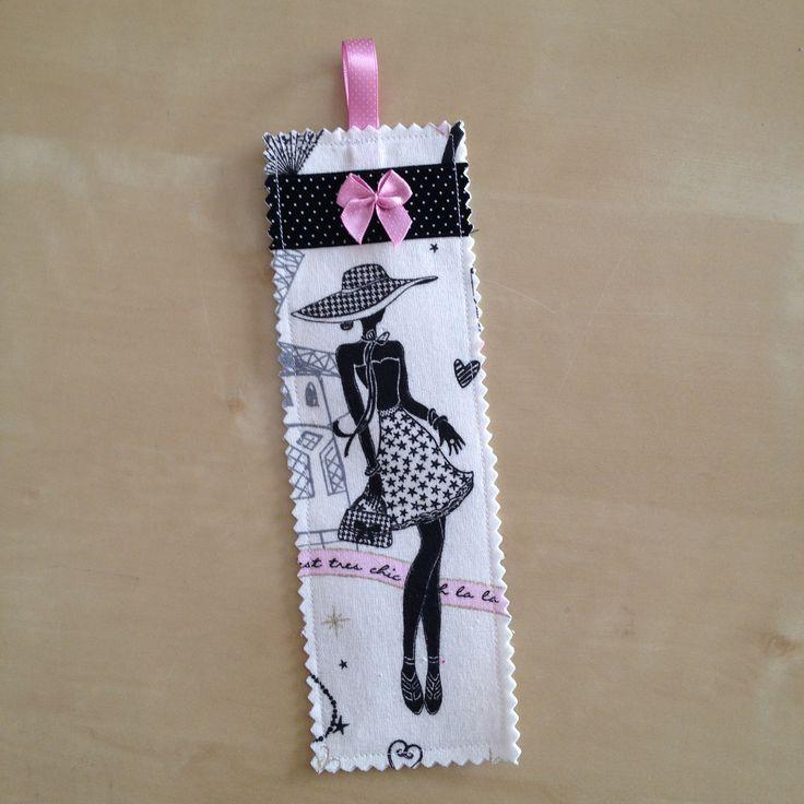"""Marque-pages N°12 rétro et chic """"la parisienne"""" avec galon noir à pois et noeud rose : Marque-pages par nymeria-creation"""