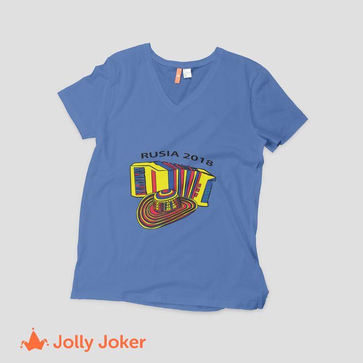 Personaliza tus camisetas para el mundial como tu quieras. Puedes hacer un diseño que represente a Colombia como prefieras! En Jolly Joker ordena tus camisetas personalizadas del mundial :)