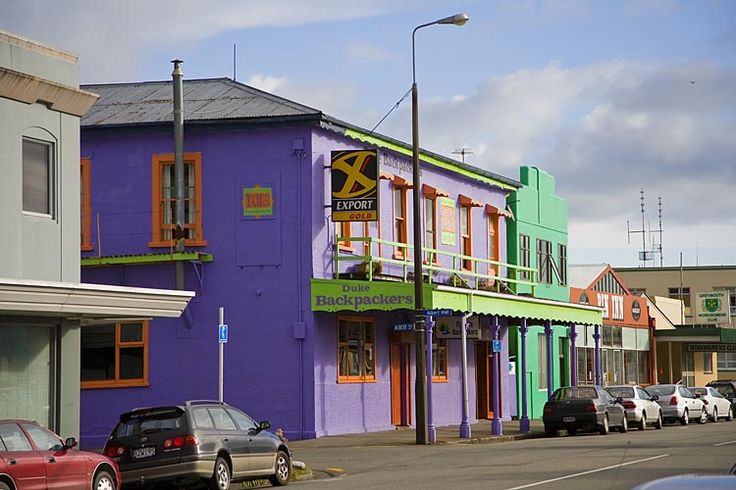 Greymouth, with colourful buildings to suggest that the town is anything but Grey, see more, learn more, at New Zealand Journeys app for iPad www.gopix.co.nz