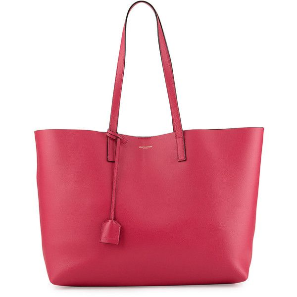 Saint Laurent Large Shopping Tote Bag w/ Painted Edges (13.044.460 IDR) ❤ liked on Polyvore featuring bags, handbags, tote bags, pink, pink tote bag, pink leather tote, leather tote handbags, red leather tote and pink tote