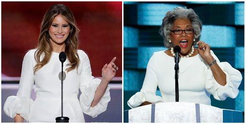 Celebrity / official Fashion Faceoff. Who nailed it?  Melania Trump and U.S. Rep. Joyce Beatty lockec in a fashion faceoff, who wore it better?    Nice