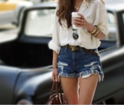 I like the outfit. The destroyed high-waisted shorts balance out the blouse. :)