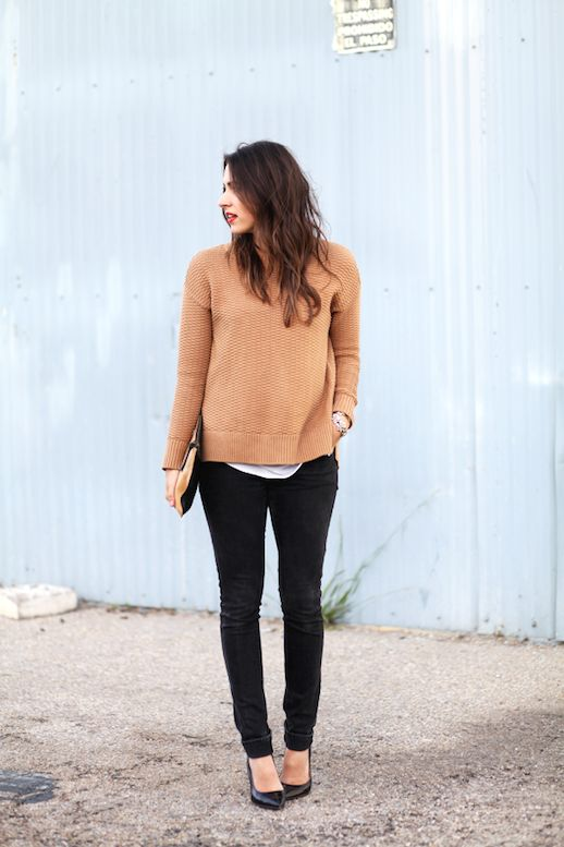A Blogger's Casual Chic Way To Wear A Camel Sweater
