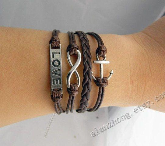 Braceletscouples bracelet leatheranchor bracelet by Couplejewelry, $7.99