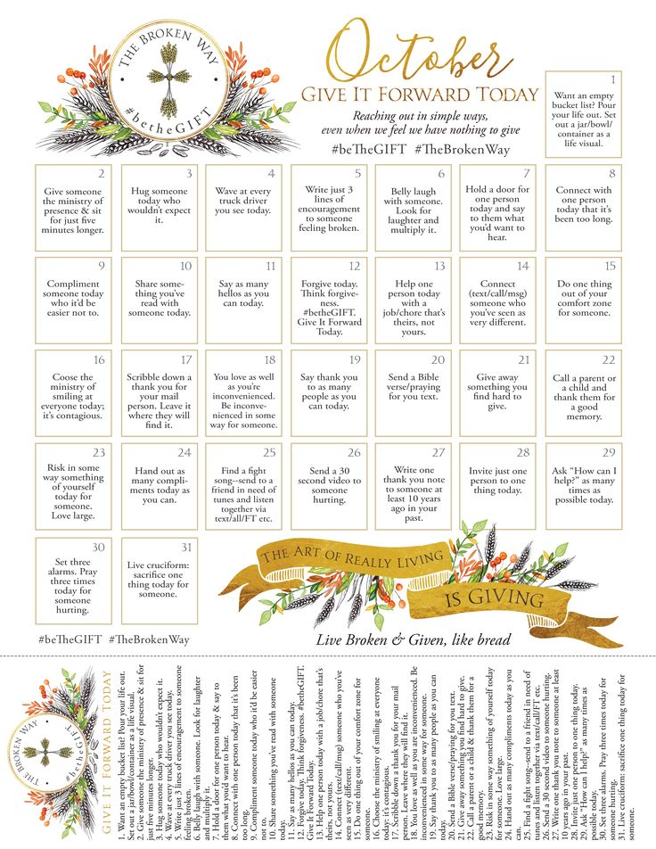The GIFT List: Give It Forward Today: Dare with us? To start a bit of a kindness revolution, a giving, generous, caring, broken and given and transforming revolution?    A 365 day GIFT list, a list of Giving It Forward Today… Could there be a more beautiful way to live a life? A daring path to the abundant life! FREE Printable!