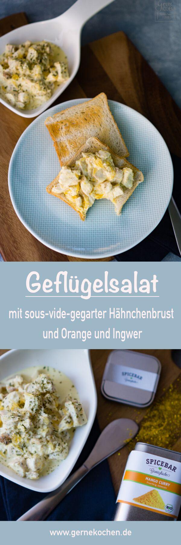Geflügelsalat mit sous-vide-gegarter Hähnchenbrust, verfeinert mit Orange und Ingwer.