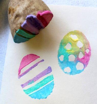 Easter egg potato stamp - easy Easter craft for kids // Húsvéti tojás krumplinyomda - egyszerű kreatív ötlet gyerekeknek // Mindy - craft tutorial collection // #crafts #DIY #craftTutorial #tutorial