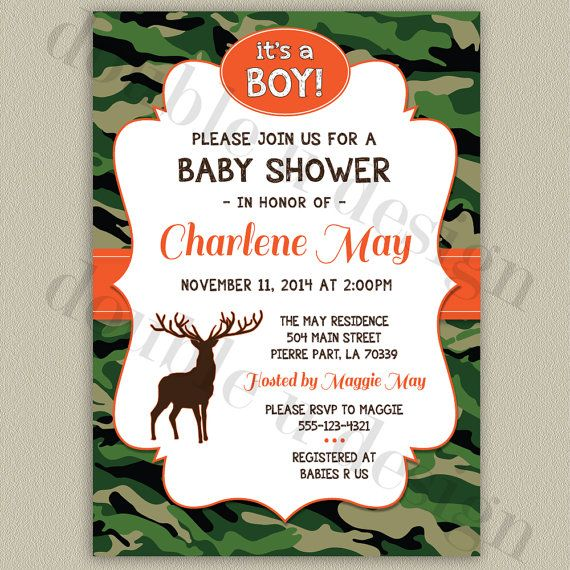 Camouflage+Baby+Shower+Invitation+with+Deer++by+doubleudesign,+$18.00