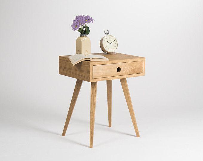Mesita de noche, mesita de noche, mesa, mesa auxiliar con un cajón, diseño escandinavo, mediados de siglo modernos, roble madera