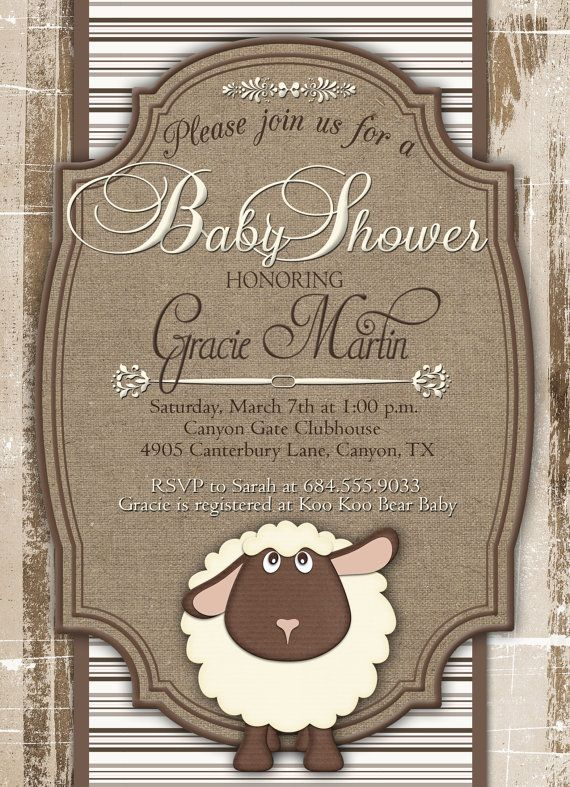 Little Lamb Baby Shower Invitation Lamb Baby by GracenLDesigns