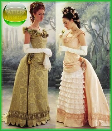 Victorian bustled dresses- currently part way through the one on the left, being made in green taffeta and then on to the one on the right in pink.