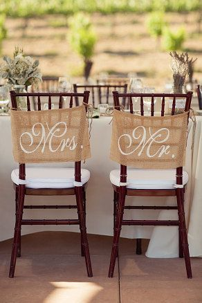 Burlap Wedding Chair signs - Mr and Mrs chair signs