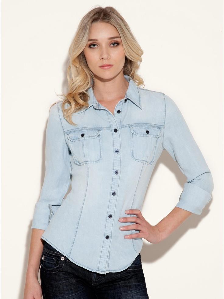 GUESS Natalie Tencel Shirt, INVOLVED SHADE 2 (LARGE)