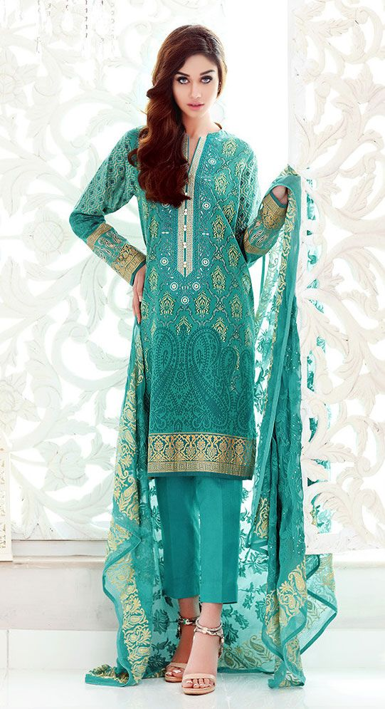 Teal Green Embroidered Cotton Lawn Dress