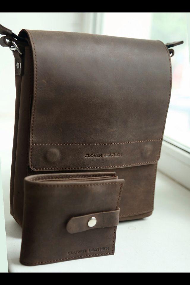 Мужская сумка и портмоне  Leather man bag