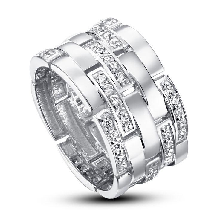 Inel din argint Joy of Love cu cristale Inel argint 925 Cristale swarovski elements round cut